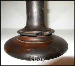 Antique portable mobile candlestick in wrought iron and wood from the 19th