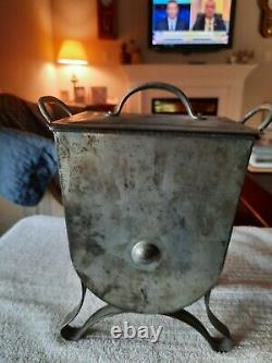 Antique tin FRIES butter churn with wood handle & lid from 1890s/1910s WORKS