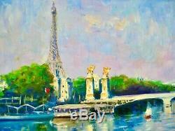 AskArt Listed Artist Nino Pippa Orig Painting Paris Eiffel Tower from rive Droit
