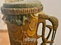 Asmat Hand Carved Tribal Drum, Original from Papua New Guinea