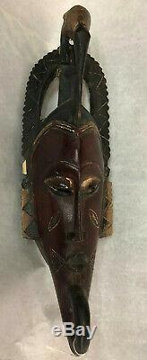 Authentic Bird Red Guro Gu Bete Gye African Art Mask From Private Collection