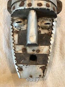 Bamana Ntomo African Mask from Mali-light metal & dark hand carved wood. 21tall