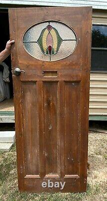 Beautiful Antique Handcrafted Door From England Oval Stained Glass circa 1925