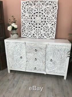 Beautiful Carved Sideboard Made From Mango Wood And Whitewashed