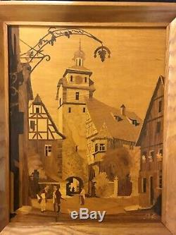 Buchschmid & Gretaux Wood Inlay Work from Germany 2 sets of 2