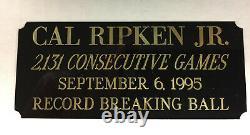 Cal Ripken Jr Autographed Baseball Coa From The Scoreboard, Inc In Wood Box