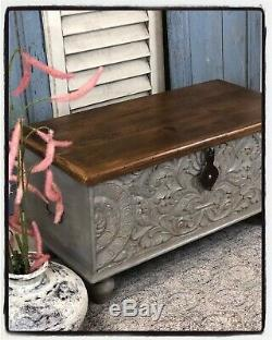 Carved Storage Box/chest Made From Mango Wood