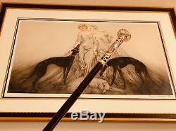 Continental Courting Cane From The 1800's, Gilt Handle, 2 Inset Ceramic Scenes