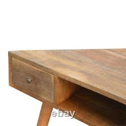 Corner Desk Hand Crafted From Solid Wood With Two Drawers & Brass Cup Handles