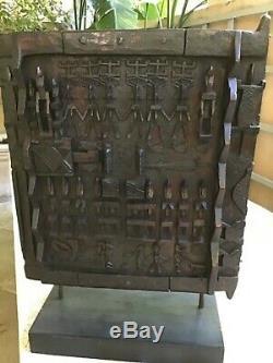 Dogon African Wood Granary House Door / Window Shutter on Custom Base From Mali