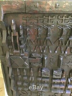 Dogon African Wood Granary House Door / Window Shutter on Custom Base From Mali