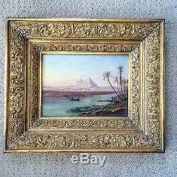 E. Huber 19th Century Oil on Panel Lanscape Great Pyramids from Nile Signed Art