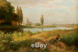 E. Staudt Oil Painting Antique 1889 View From Frankfurt At Main Cathedral