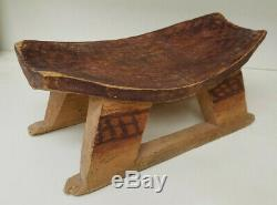 Early Primitive Opium HEADREST / Pillow Hand Carved from One Piece of Wood