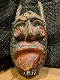 Ekpo Society Mask from Ibibio in Nigeria Authentic Handcarved Wood African Art