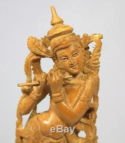 Finely Carved Wooden Lakshmi on a Wooden Base from India 12.5 High x 4 Wide