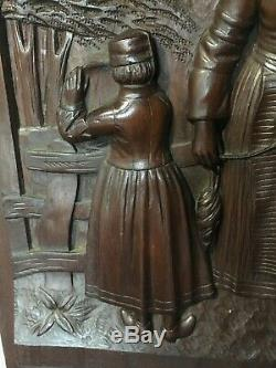 French Antique Hand Carved Panel in Solid Chestnut Wood from Brittany