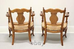 French Country Style Rush Seat Lounge Chairs from Colony Furniture Pair
