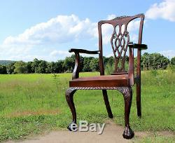 GREAT Set 6 Antique Chippendale SOLID MAHOGANY Dining Chairs c1900 from Wales