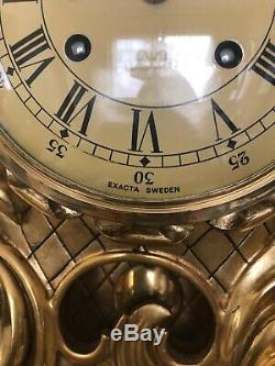 Gold gilded Exacta Swedish clock brought over from Sweden after WWII
