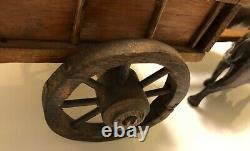 Gorgeous Antique Primitive Folk Art Hand Carved Wood Oxen and Cart from Vermont
