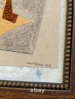 HENRI LAURENS COLLAGE and PENCIL on ORIGINAL WOOD FROM THE 10s FRAMED