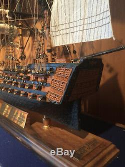 HMS Victory, model sailing ship. Limited edition. Original wood from HMS Victor
