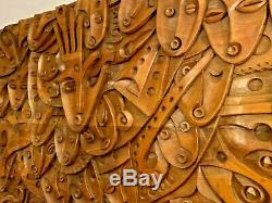 HUGE Wooden Hand Carved MURAL 59 by 41 from Ecuador by Luis Potosi MUST SEE