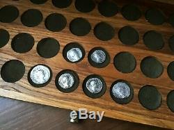 Handmade Coin Cabinet from an array of Carpathian oak for 200 coins