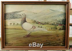 Heckmans Antique Oil Painting from 1902 Pigeon Pigeon Village Brieftaubenzüchter