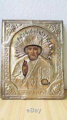 Icona Russa, Antique Russian Orthodox icon, St. Nicholas, from 19c