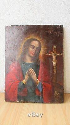 Icona Russa, Antique Russian Orthodox icon, Theotokos, from 19c