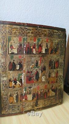 Ikone, Antique Russian Orthodox icon, Church Feasts, from 19c