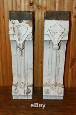 Incredible Pair of Large Antique Wood Corbels 29 tall ORIGINAL FROM 1800's