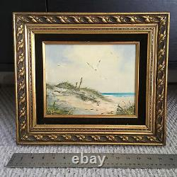 J. Martin Signed Oil Painting Ocean View from the Dunes and Seagulls Original