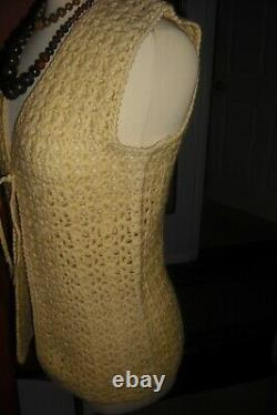 Janis Joplin Worn 1960's Crochet Vest and Wood Bead Necklaces from Mickey Deans