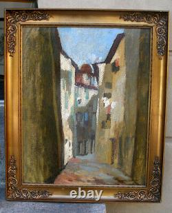 Jean Mayodon (French, 1893) Ally street from Grasse. French Riviera. Dated 1930