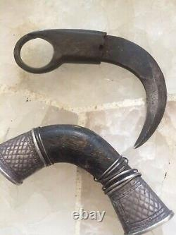 Kerambit Knife With horn handle and silver and wood sheath from Indonesia