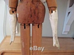 LARGE Antique Grodnertal Wooden Doll c 1830 from Strong Doll Museum 17 tall