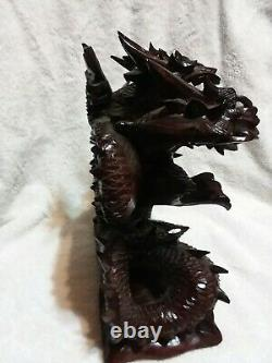 Large Hand Carved Wooden Dragon Statue 12 Dragon From Bali. 3 headed