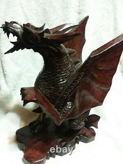 Large Hand Carved Wooden Dragon Statue Length 12 Flying Dragon from bali