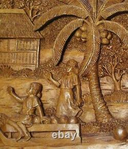 Large old high relief wood sculpture from the Philippines, coconut agriculture