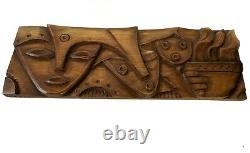 Luis Potosi hand carved wood plaque, signed and dated by artist from Ecuador