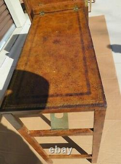 Maitland Smith Murphy leather Desk from steamer trunk opens up to desk rare