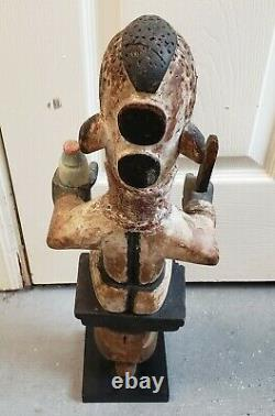 Mid 20th Century Ibibio Ekon Polychrome Wooden Puppet Figure from Nigeria