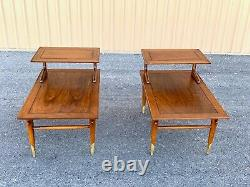 Mid Century Modern pair two-tier walnut tables by Lane from the Copenhagen line