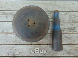 Mortar & Pestle Set from Lignum Vitae with One Old Coat Blue Paint 6 LB 2.2 OZ