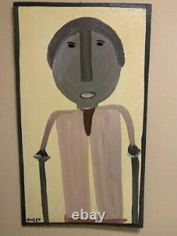 Mose T (Tolliver) Self Portrait on Wood from 1988