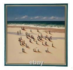 Nuria Miro from Spain Original Oil over wood with 3D figures BEACH OCEAN