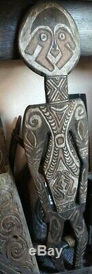 OLD powerful wooden ceremonial figure from the Papua Gulf area in Newguinea